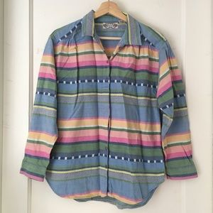 Pastel Striped Woven Import Button Down Shirt